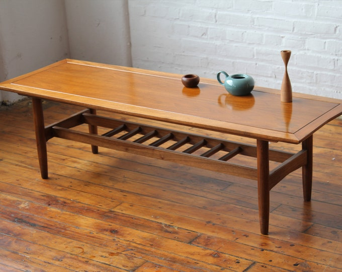 Walnut and Pecan Surfboard Coffee Table with Magazine Rack