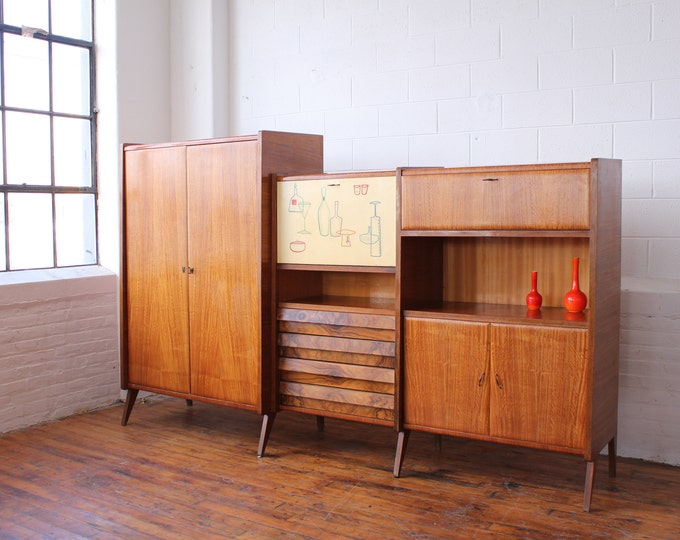 Italian Modern Free Standing Wall Unit with a Drop Front Bar