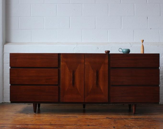 Mid Century Modern Walnut Triple Dresser by American of Martinsville