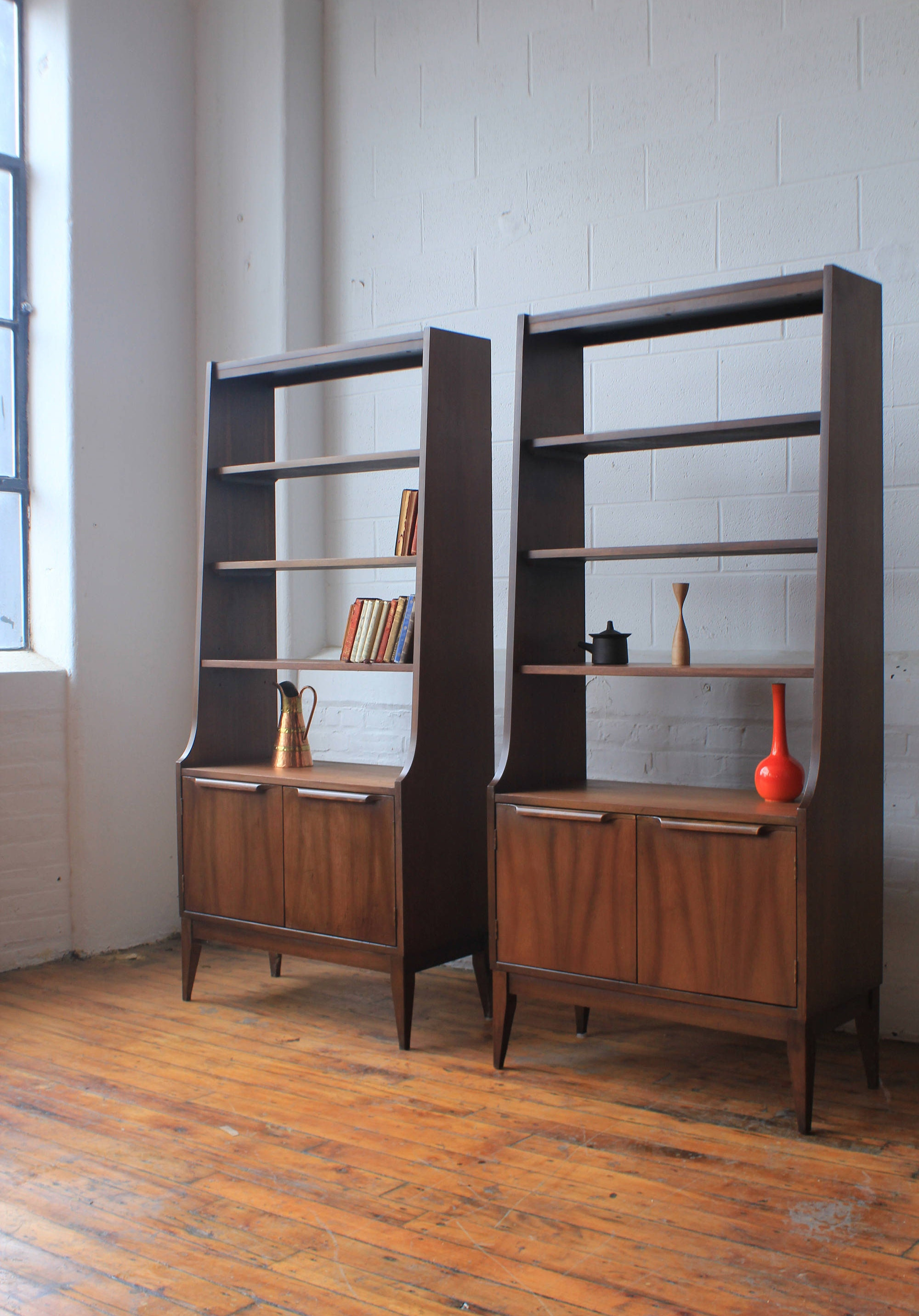 Pair Of Mid Century Modern Walnut Bookshelves
