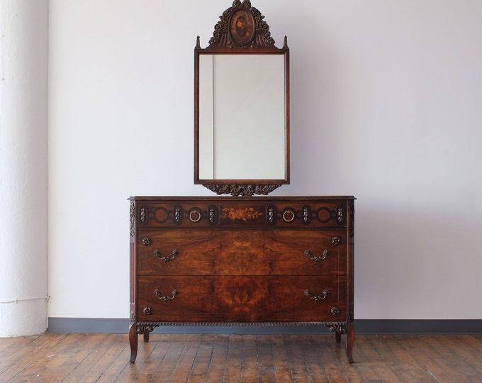 Restored Victorian Walnut Bureau with Floating Mirror, by Johnson Furniture Co. of Michigan