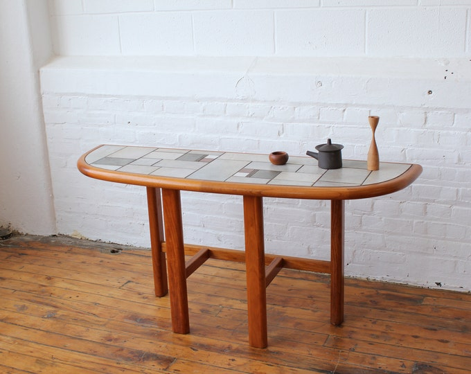 Danish Tile Top and Teak Hallway Table by Gangso Mobler