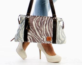 Waxed Linen tote bag, linen bag, tote bag, hand bag, stamped bag, fabric bag, two handles bag,