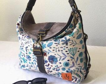 Spring bag, blue bag, woman backpack, fabric bag, stamped bag, blue backpack, printed backpack, convertible bag, handbag style