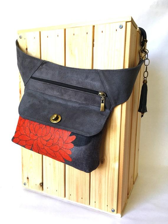 1985908af55 Tissu en lin japonais Fanny pack sac de taille de fleurs