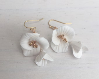 Floral earrings, Clay flower earrings, bridal earrings, Gold, Silver, floral, bridal accessories, bridal accessory