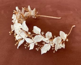 floral headpiece, bridal headpiece, Bridal headba