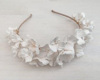 Clay flowers tiara, floral headpiece, bridal headpiece, Bridal headband, Silver, Gold, Rose Gold,Bridal Accessory