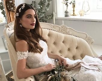 Short Luna hairvine, Clay flowers and pearl bridal hair vine, delicate hair vine, wedding hair vine, wedding hairpiece, bridal