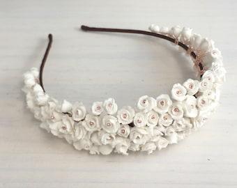 Clay flower tiara, Wedding headpiece, Bridal headpiece, Bridal headband, Floral tiara, Silver, Gold, Rose Gold, , Bridal Accessory
