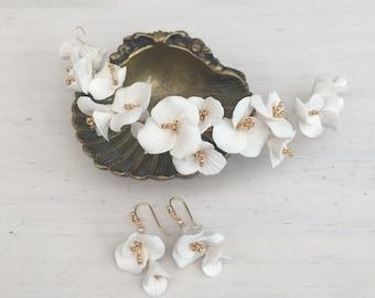 Clay flower bridal set, bridal hairvine, bridal earrings, bridal headpiece, bridal hair set, set