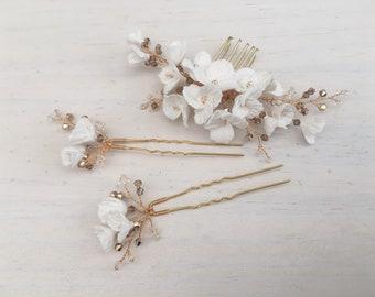 Clay flower set, bridal haircomb, bridal hairpins, bridal headpiece, bridal hair set, set
