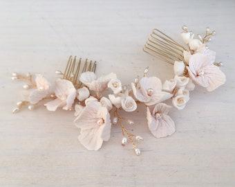 Bridal Hair Comb, blush clay flower haircomb