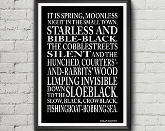 Dylan thomas quote under milk wood greeting card birthday card etsy dylan thomas quote it is spring moonless night in the small town under milk wood text quote literary poster m4hsunfo