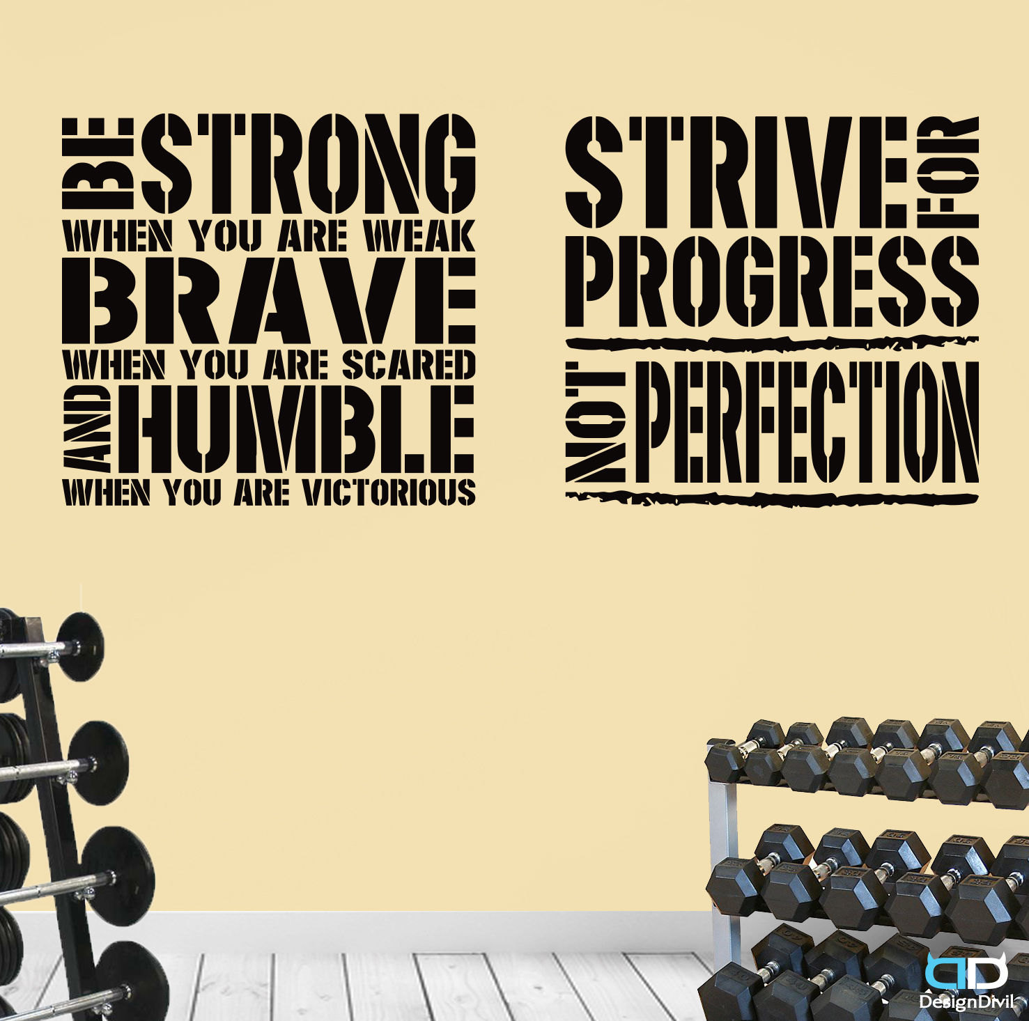 2 Gym Exercise Fitness Motivational Wall Decal Quotes Brave   Etsy