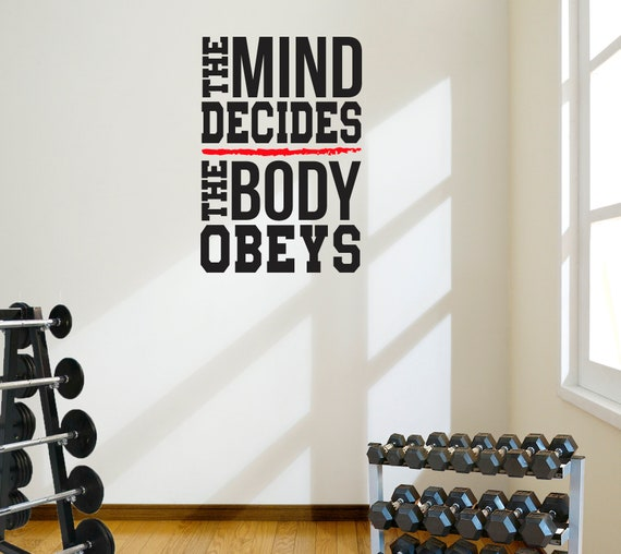 The Body Obeys Inspiring Gym Wall Art Decal Quote Workout Etsy