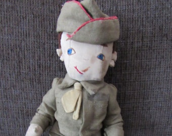 Vintage Cloth Army Navy Military Doll Free Shipping