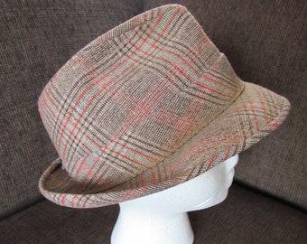 a3041779b69 Vintage Tweed Fedora Hat Size 7 1 8 Free Shipping
