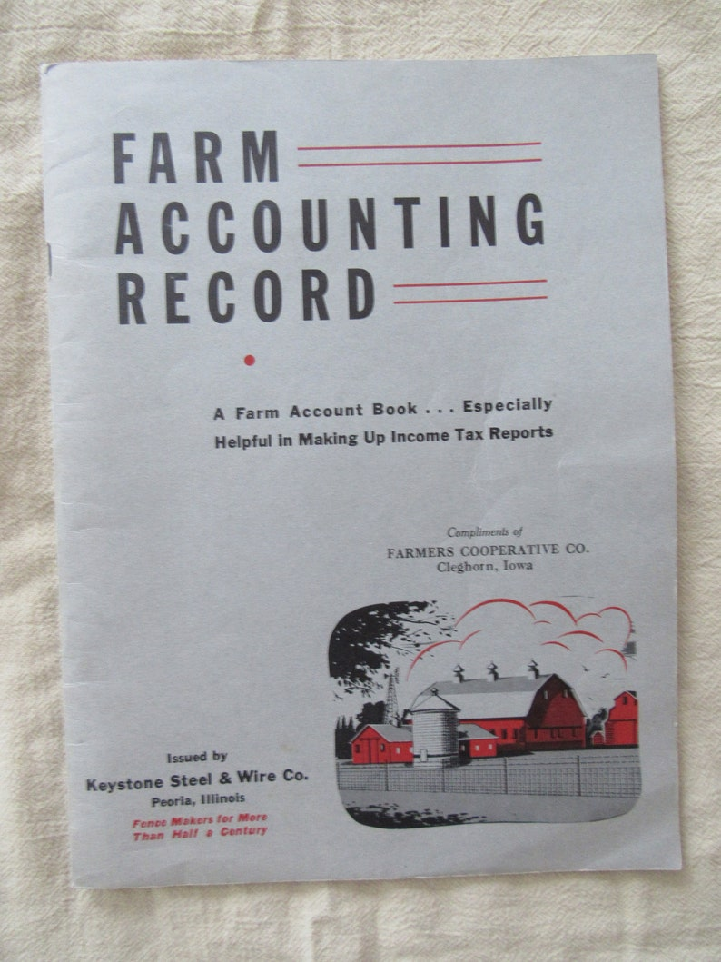 Vintage Farm Accounting Record 1940s Free Shipping