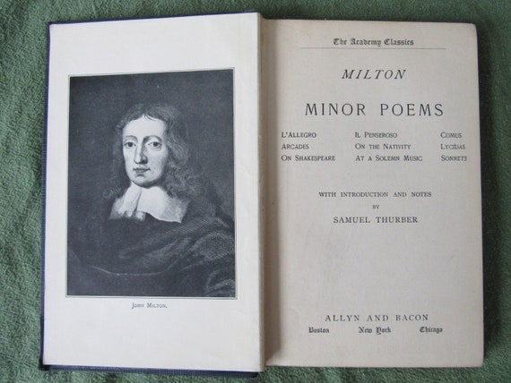 John Milton Minor Poems 1901 Free Shipping