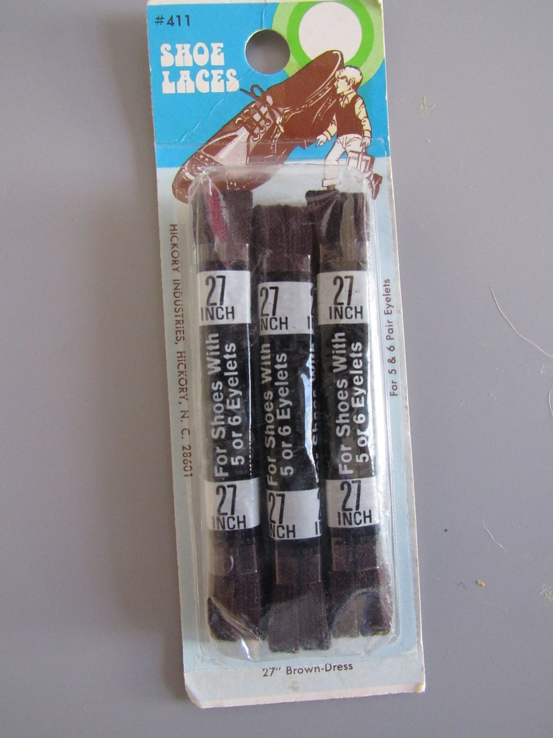 Vintage 27 Inch Brown Dress Shoe Laces New Old Stock 3 Pairs Free Shipping