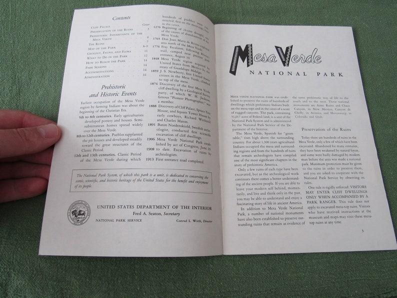 Vintage Mesa Verde National Park Colorado Booklet 1958 Free Shipping