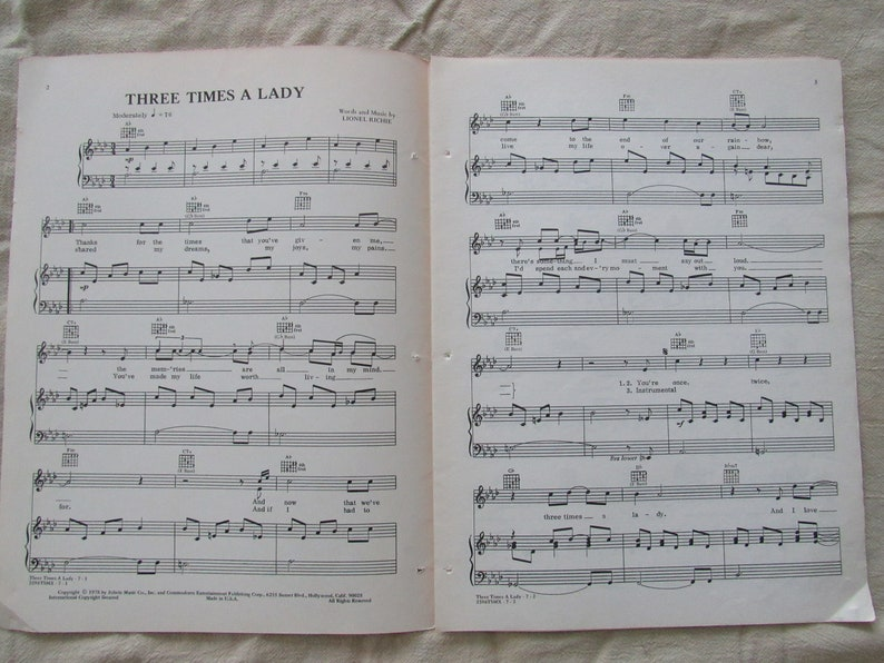 Three Times a Lady by The Commodores Sheet Music Lionel Richie 1978 Free  Shipping