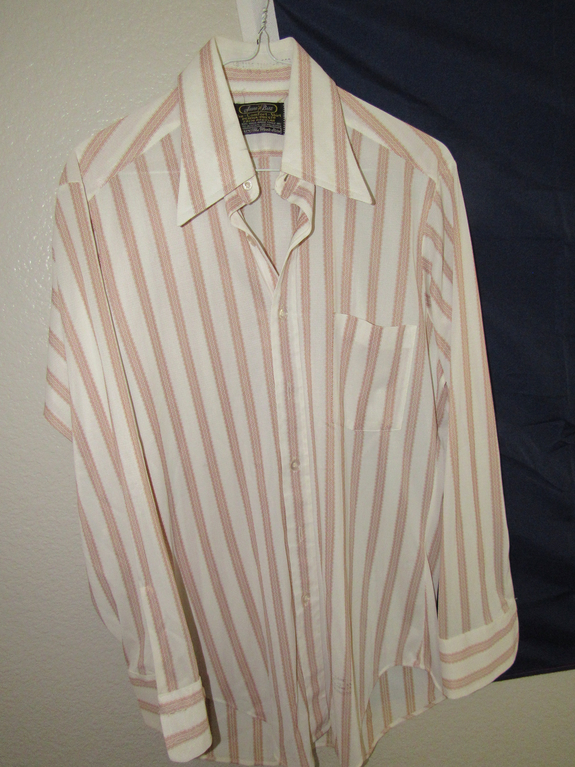 1970s Mens Shirt Styles – Vintage 70s Shirts for Guys Vintage Mens Sears Best The Comfort Shirt Sz 16-33 1970S Free Shipping $25.00 AT vintagedancer.com