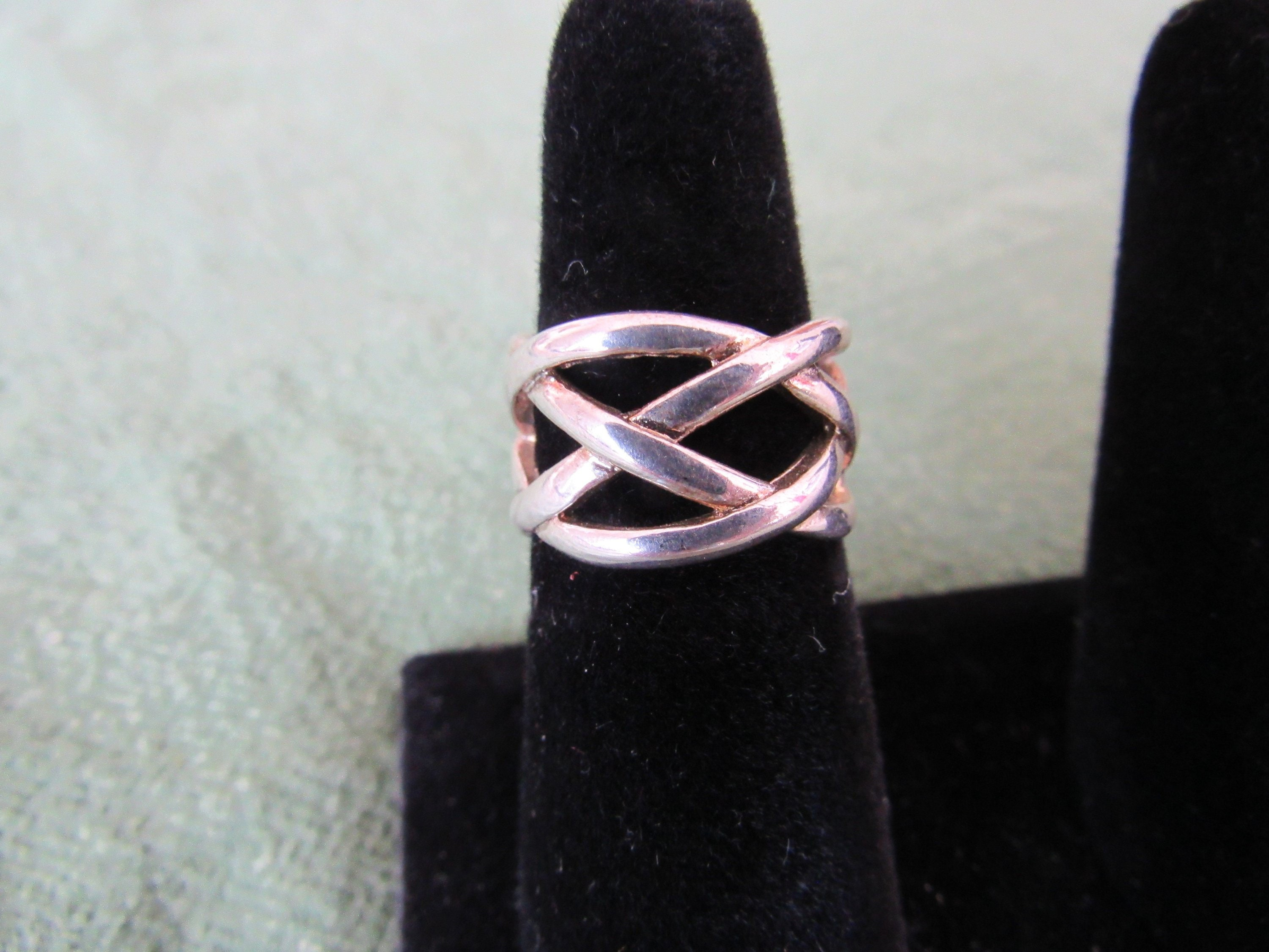 Wholesale 925 Sterling Silver Filled Weave Grid Plain Band Ring Jewelry