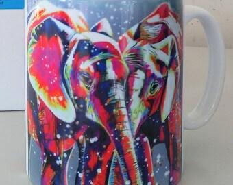Elephants mug, Jambo Jumbo, bright colours elephants, , mug with gift box, dishwasher proof, white mug, design on front and rear.