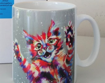 Kitten of Many Colours mug, bright colours cat, jumping cat, mug with gift box, dishwasher proof, white mug, design on front and rear.