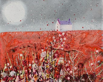Red Fields II/landscape/original/painting on canvas/grey/wall art/bridget skanski-such/spatters/orange/little house/countryside/moon/meadow