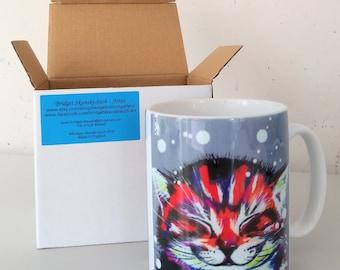Happy cat mug, bright colours cat, smiling cat, mug with gift box, dishwasher proof, white mug, design on front and rear.