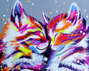 Hugging cats print, vibrant contemporary limited edition print, cat wall art, hug, bright colourful pet print, cat lover gift