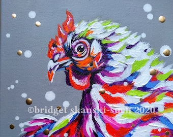 Funky Chicken original painting, hen painting, farm art, original acrylic painting, framed poultry picture, animal lover gift, chicken gift