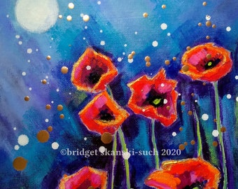 Poppies original painting, flowers, garden painting, floral art, original acrylic painting, framed poppy picture, flower lover gift