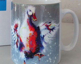 Duck mug, bright colours duck, flapping duck, dancing duck, mug with gift box, dishwasher proof, white mug, design on front and rear.