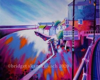 Original seaside painting on canvas, Cornwall original painting on canvas, vibrant seascape wall art, harbour beach Mousehole, seaside art