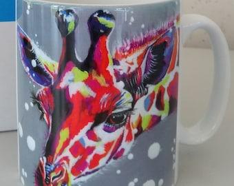 Giraffe mug, bright colours giraffe, Tall, mug with gift box, dishwasher proof, white mug, design on front and rear.