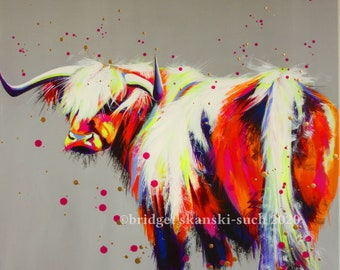 Original Highland Cow painting, large canvas, grey, spatters. farming, bright colourful cattle, countryside/modern wall art, Bright Moo
