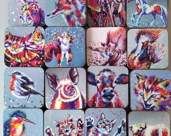 5 coasters collection, bright animal art coasters, animal lovers gift, animal collectibles, bright contemporary home decor, drinks mats