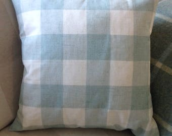 Duck egg blue check gingham blue cushion with feather inner
