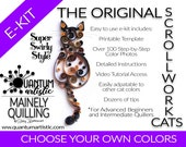 E-Kit - Super Swirly Quilled Scrollwork Cat Tutorial - Choose Your Own Colors