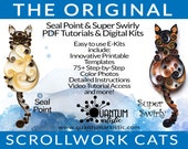 E-Kit 2-Pack | Original Seal Point PLUS Super Swirly Paper Quilled Scrollwork Cats Quilling Kit