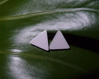 Triangle concrete earrings Gray stud earrings Triangle posts Stone earrings Minimalist earrings Concrete jewelry Architectural earrings