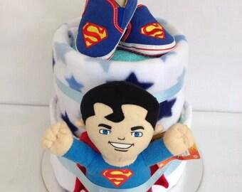 Superman nappy cake