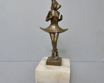 Metallobjekte Antike Originale Vor 1945 Neuheit Bronze Nackte Dame In Badezimmer Mit Marmor Basis