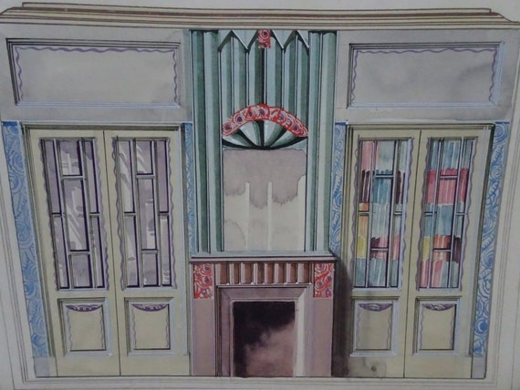 J Prouet France 1930s Original Gouache Painting Art Deco Interior Design