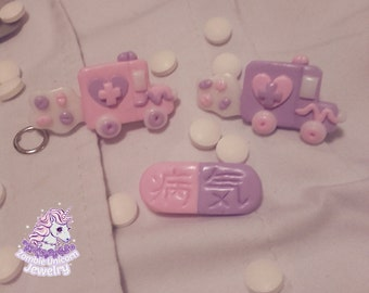 Kawaii Hospital menhera yamikawaii pastel ambulance pills nurse