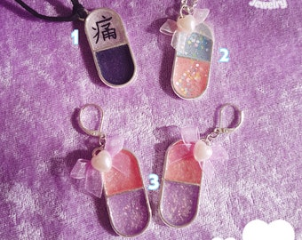 Resin pills necklaces earrings menhera yamikawaii